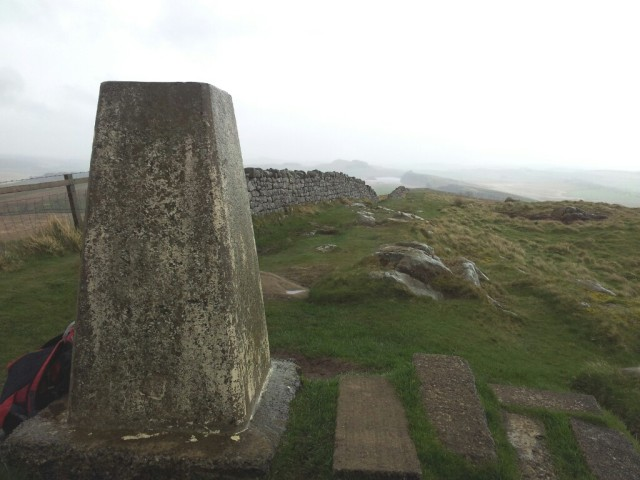 Winshield Crags trig point in the rain