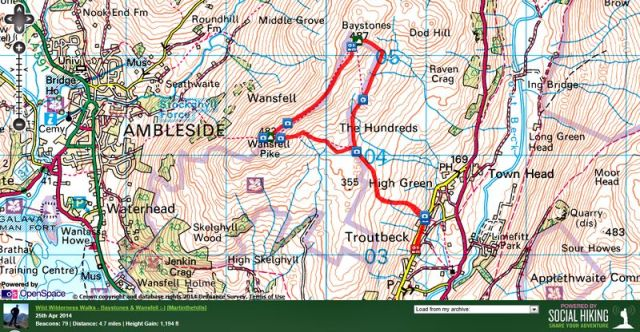 Wansfell and Baystones route from Troutbeck