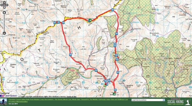 Coquet Valley Route from Wedder Leap - Mozie Law, Windy Gyle, Shillhope Law 13 miles