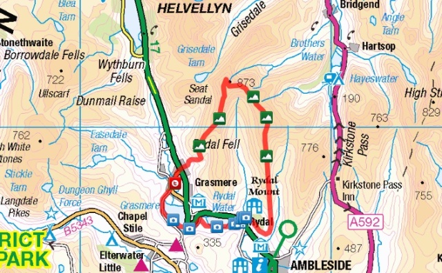 Fairfield Round route from Grasmere - via Rydal Water, High Pike, Fairfield & stone Arthur