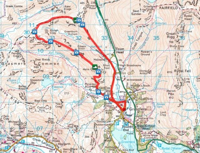 Helm Crag to Steel Fell route via Gibson Knott & Calf Crag from Grasmere