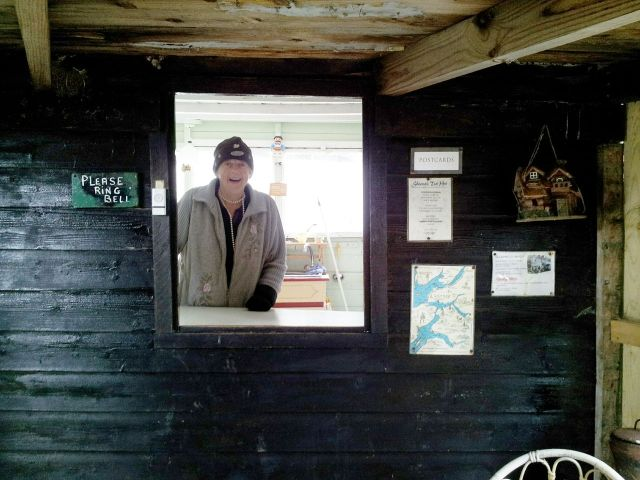 Sheena smiling in her Tea Hut July 2014