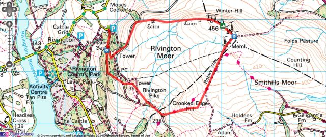 Rivington Pike and Winter Hill from Lower House - Route Map