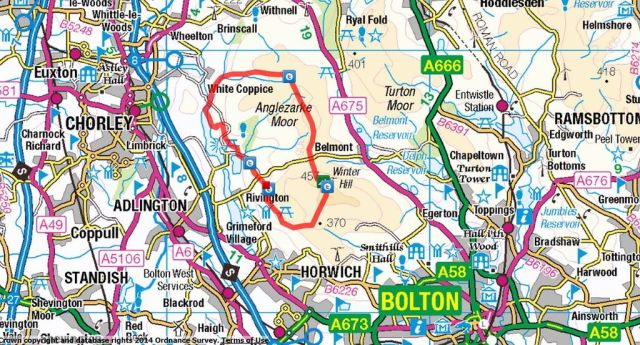 Chorley 3 Route, White Coppice, Great Hill, Winter Hill & Rivington Pike from Lower House