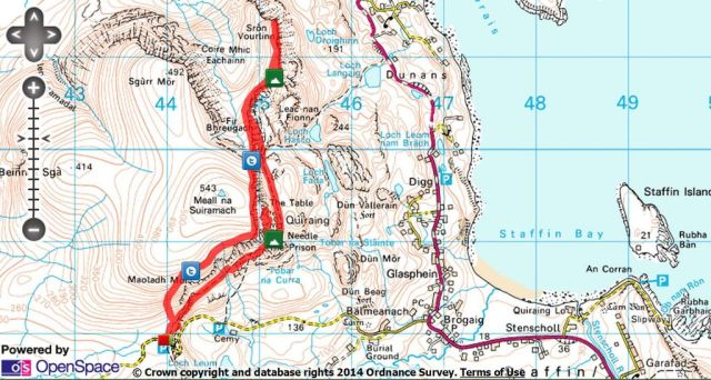 The Quiraing and Sron Vourlinn route map