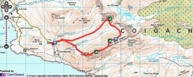 Coigach and the Fiddler Route Map