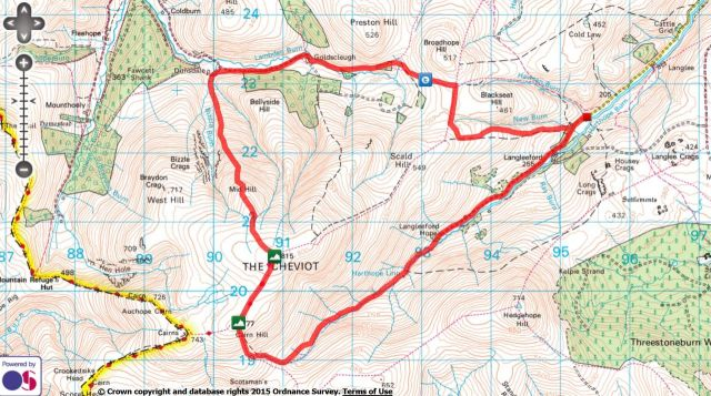 The Cheviot via the Bizzle from Langleeford Route Map
