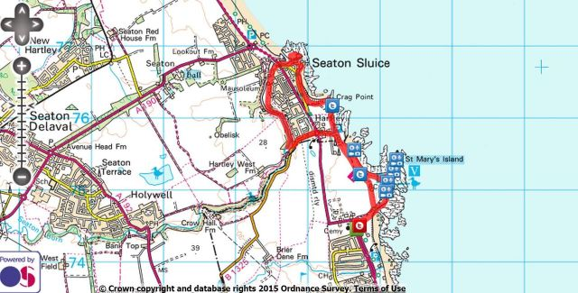 Whitley Bay and St Marys Island walk Route